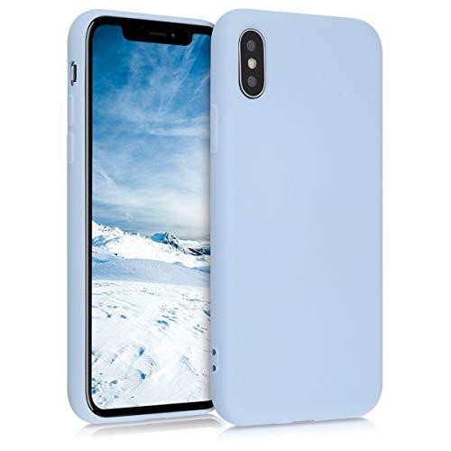 kwmobile Cover Compatibile con Apple iPhone X - Custodia in Silicone Effetto Gommato - Back Case Protezione Cellulare - Blu Chiaro Matt