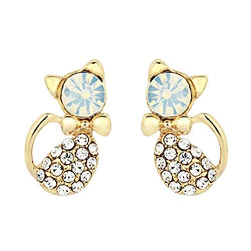 XIANGAI Elegant Women's Cute Cat Rhinestones Alloy Ear Studs Earrings Jewelry,Style Name:White