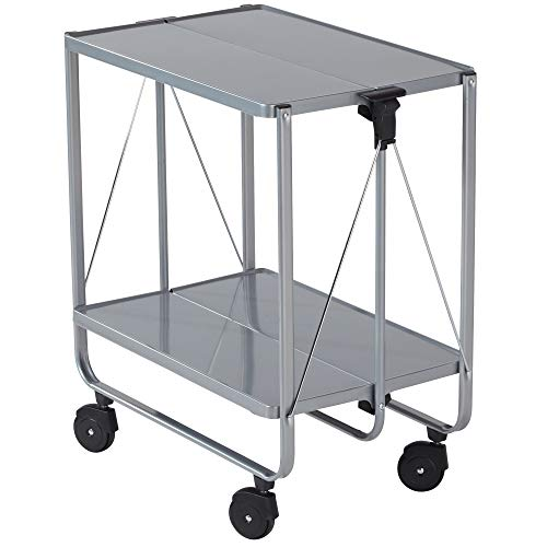 Leifheit Storage Wheels | Silver 74291 Fold-Up Utility Storage & Service Trolley Cart