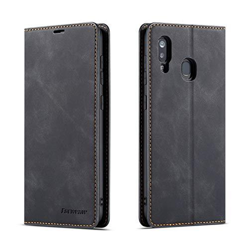 QLTYPRI Hülle für Samsung Galaxy A40, Premium Dünne Ledertasche Handyhülle mit Kartenfach Ständer Flip Schutzhülle Kompatibel mit Samsung Galaxy A40 - Schwarz