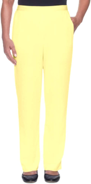 Alfred Dunner Still My Sunshine PullOn Pants Yellow Size 16