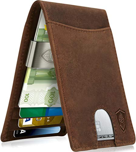 Real Leather Wallets for Men - Money Clip Bifold Wallet RFID Front Pocket...