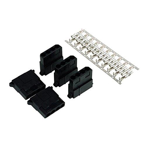 Phobya Kabelverbinder 4-polig, Molex, schwarz, Kunststoff, Modell 82354, 5 Stück