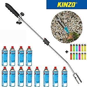 Kinzo | Universal Unkrautvernichter | Unkrautbrenner | Gasbrenner | Piezozündung | Grillanzünder | Abflammgerät für Gaskartuschen | + 12 Buttan Gaskartuschen |