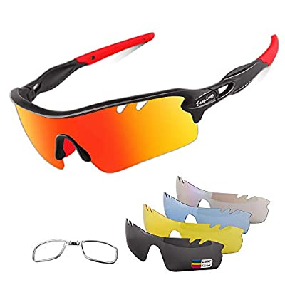Polarized Sports Sunglasses Cycling Sun Glasses for Men Women with 5 Interchangeable Lenes for Running Baseball Golf Driving (Black/Red, 75)
