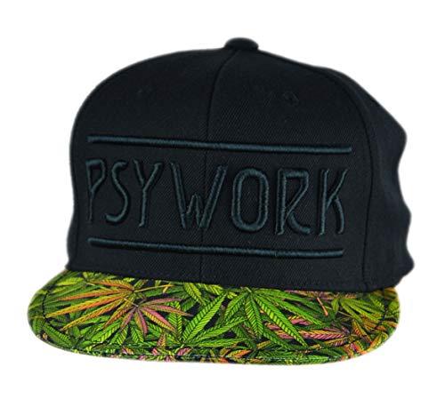 PSYWORK Schwarzlicht Black Cap Neon Funky Weed, Schwarz