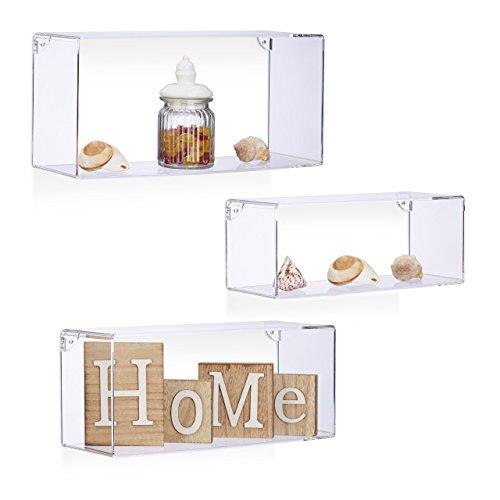 Relaxdays Wandregale Acryl, rechteckiges Wandboard 3er Set, bruchsichere Kunststoffregale zum Aufhängen, transparent