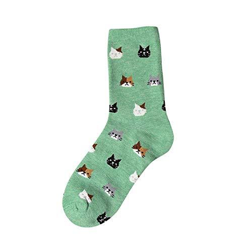 VJGOAL Moda casual para mujer Animal Gato de dibujos animados Imprimir Calcetines cómodos de algodón transpirable(Un tamaño,Verde)