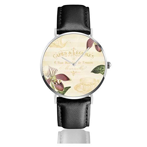 Klassische Armbanduhr, französisches Café, mit Orchideen, schwarzes Lederarmband, legere Uhren