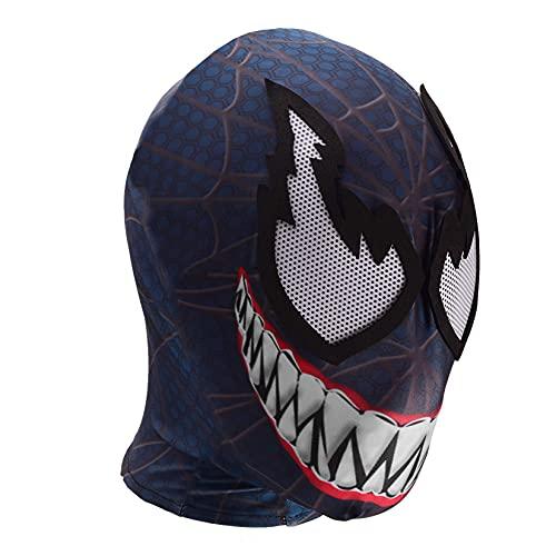 Spiderman Masque Complet Enfants Avengers Casque Coiffures Film Cosplay Costume Accessoires Halloween Tête Couvrant Garçons Carnaval Coiffe Capuche Respirante,Black-Aldult