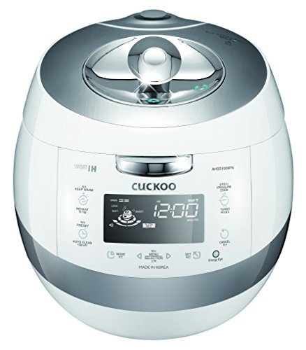 Cuckoo CRP-AHSS1009FN 10 Cup Induction Heating Pressure Rice Cooker, 17 Menu Options, Stainless Steel Inner Pot, Made in Korea, White