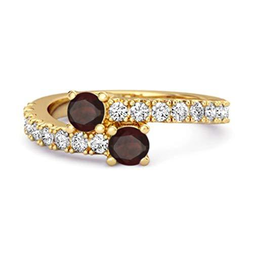 Shine Jewel Multi Elija su Piedra Preciosa 0.04 CTS Anillo único de vástago Dividido Chapado en Oro Amarillo de Plata de Ley 925 (11, Granate)