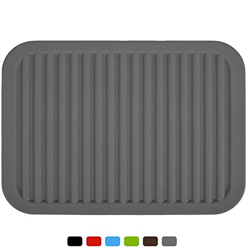 """Silica gel Trivets Mat- Multi purpose Silicone Pot Holders, Spoon Rest and Kitchen Table Mat,Tableware Pad Coasters - Insulated, Flexible, Durable, Non Slip Hot Pads and Coasters(9"""" x 12""""),Grey"""