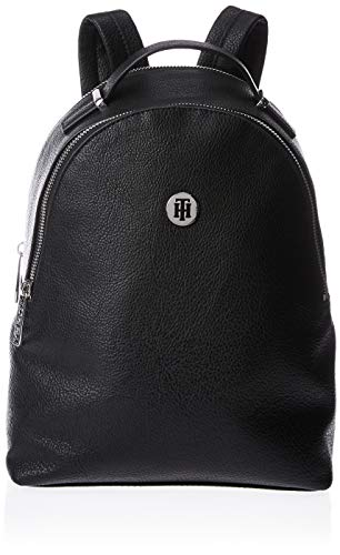 Tommy Hilfiger Damen Leather Statement Crossover Umhängetasche, Schwarz (Black), 1x1x1 cm