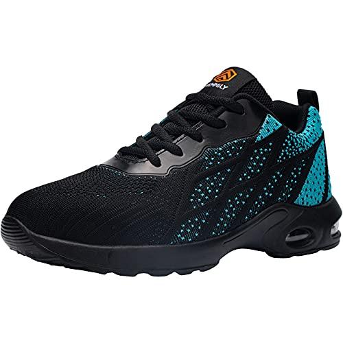 DKMILYAIR Impermeable Zapatillas de Seguridad Hombre Colchón de Aire Zapatos de Seguridad Trabajo Ligeras Respirable Punta de Acero Calzado de Seguridad Deportivo (Azul,43 EU)