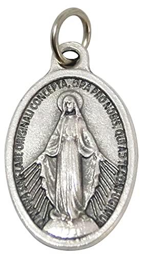 GTBITALY 60.973.30 Medalla Virgen Milagrosa Logo Original Oración en Latino con Anillo Plata Medida de 2,5 cm 25 mm