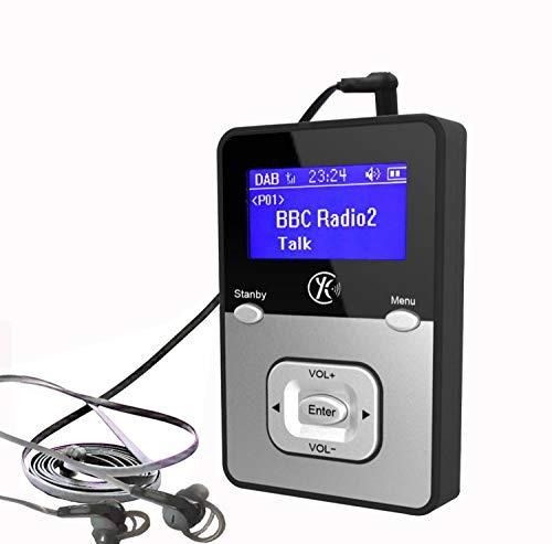 Yaakincomp K1, persönliches digitales DAB +, DAB/FM Radio, MP3 -Player Miniradio, wiederaufladbare Batterie, tragbares Handfunk, Walking oder Jogging, einschließlich Kopfhörer (Blau+MP3)