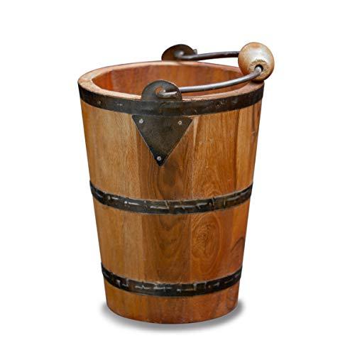 Antikas - Cubo de madera como decoración, macetero de madera, cubo con herrajes de metal.