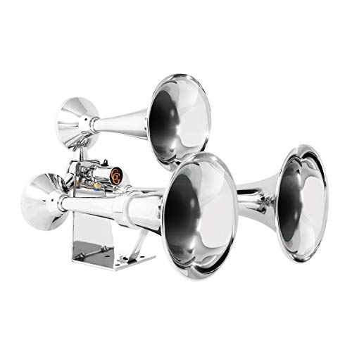 GG Grand General 69991 Chrome Heavy Duty Train Horn with Triple Brass Trumpet for Superior Sound
