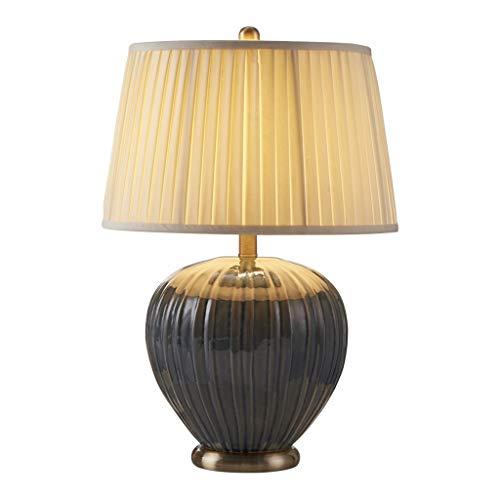 Lámparas de noche Dormitorio Mesita de luz de la lámpara moderna del estilo de cerámica lámpara de mesa Lámpara de mesa de noche (Color : White)