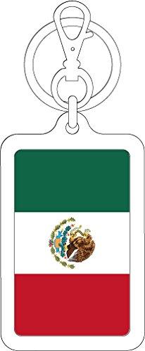 K-SK248 メキシコ MEXICO 100円国旗ステッカー キーホルダー (WHITE)