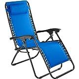 TecTake 800583 Chaise Longue Toile Tendue, Pliable, avec Rembourrage de Tête Amovible, Charge Max: 120 kg - diverses Couleurs - (Bleu | n° 402930)