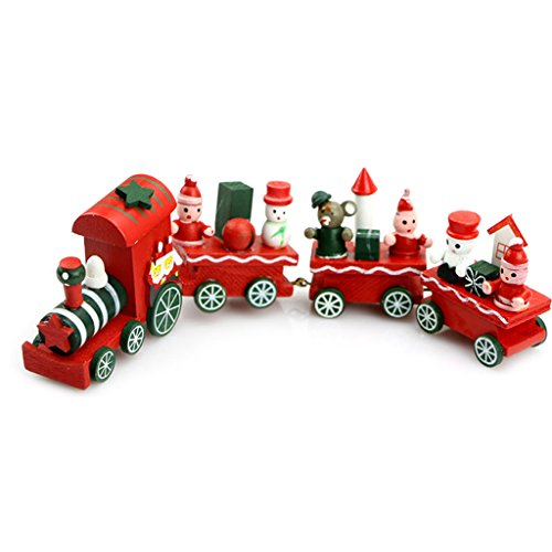 Fogun 4 Stück Weihnachten Deko Vintage Zug Tisch Dekorations Spielzeug für Kinder Grün Rot Weiß