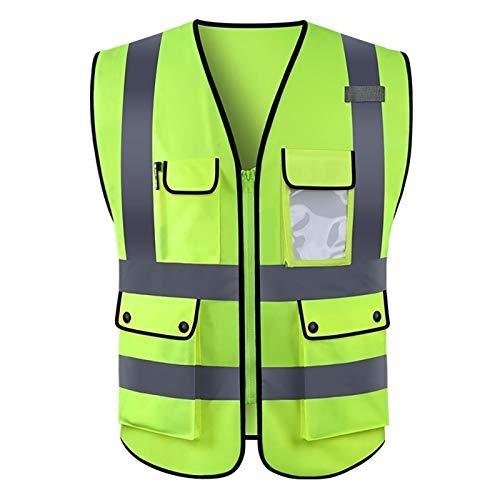 Yunding Chaqueta tipo chaleco ejecutivo de seguridad reflectante de alta visibilidad, con bolsillos multifuncionales, perfecta para correr de noche, control de tráfico, construcción, ciclismo,motocicl