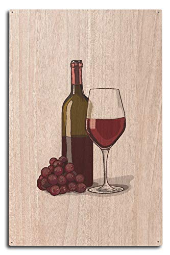 St234tyet Copa de vino, botella y uvas, icono, impresiones artísticas, para colgar en la pared, placa decorativa de madera, placa de decoración del hogar, placa de madera para casa de campo, regalo de cumpleaños familiar o decoración de pared del hogar