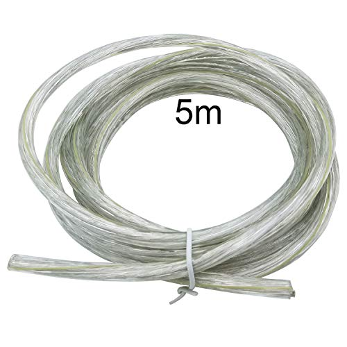 Elektrischer Draht / 3-adriges rundes weißes PVC-Netzkabel Kupferdraht hohe Temperaturbeständigkeit 3 x 0,75 mm2 Stromkabel Twin und Erdungskabel - 5 m Schnittlänge flexibles Teichkabel-Transparent