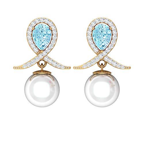 Rosec Jewels 750 oro amarillo pera redonda Blue White Aquamarine Perla de agua dulce Diamond