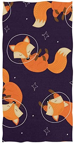 Rodde Handdoek Grootte 30x15 Inch Galaxy Planet Dierlijke Vos Zeer absorberend voor Thuis Keuken Badkamer Gym Zwembad Spa
