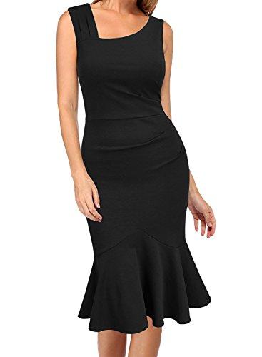 WOOSEA Womens Elegant Vintage Sleeveless Slim Mermaid Midi Mid-Calf Dress Black
