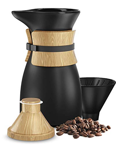 Pour Over Coffee Maker - Durable Dynamic Ceramic Carafe and Cone Funnel | Retains Heat Better than Glass - Smooth Pours Every Time | BPA Free & Non Toxic | All Coffee Types Brew