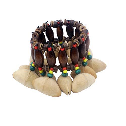 Diamoen Tribal Africana Estilo nueces Shell Pulsera Dora Pulsera Brazalete de Frutos Secos de cáscara de Nuez Campanilla percusión Accesorios Brazalete Band