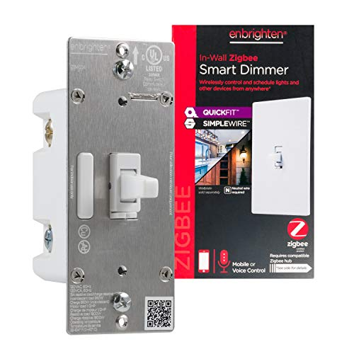 Enbrighten Zigbee Smart Light Dimmer with QuickFit and SimpleWire, Pairs Directly with Echo 4th Gen/Echo Show 10 (All)/Echo Studio/Echo Plus (All)/Eero Pro 6, Toggle, White, 43090