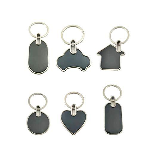 SUPVOX 6 Piezas Llavero de Metal en Blanco en Forma de Corazón Coche Casa Colgante Decoración para Bolso Monedero Coche Regalo para Día de San Valendín