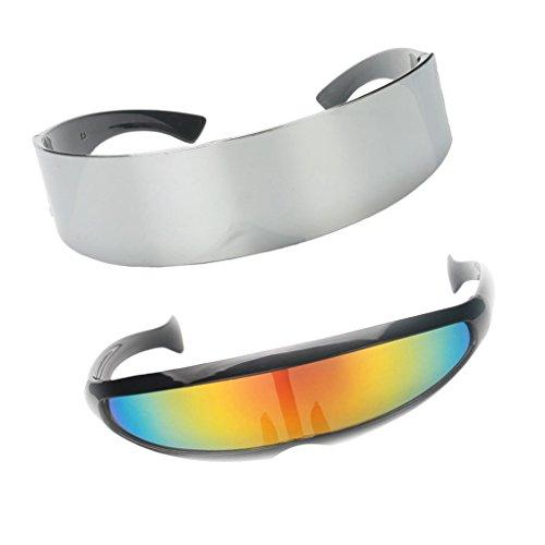 IPOTCH Occhiali da Sole Alieni Robot da Soldato Futuristico Metallizzato di 2 Pezzi