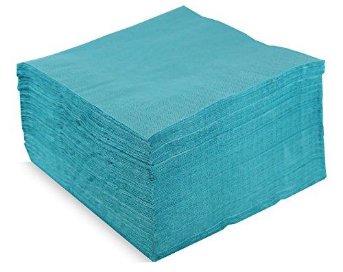 Saten ser42208084Collection, tovagliolo 40x 40, 2strati, piegati a 1/4, 100Tovaglioli, 2strati Lisa con bordo, turchese