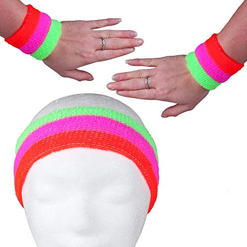 Alsino - Fascia tergisudore per uomo e donna, elasticizzata, fascia per il sudore per il fitness a righe fronte retro in spugna anni '80, fasce tergisudore per Carnevale (rosso, rosa, verde)