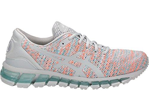 ASICS Women's Gel-Quantum 360 Knit Running Shoes, 9M, Glacier Grey/Orange POP/Aruba