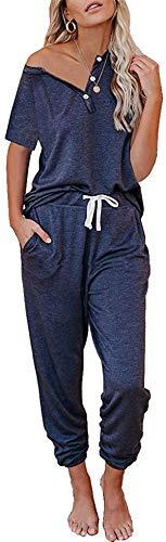 Conjunto casual deportivo para mujer, chándal de gimnasia de 2 piezas, camiseta de manga corta y pantalones con cordón, conjunto de salón
