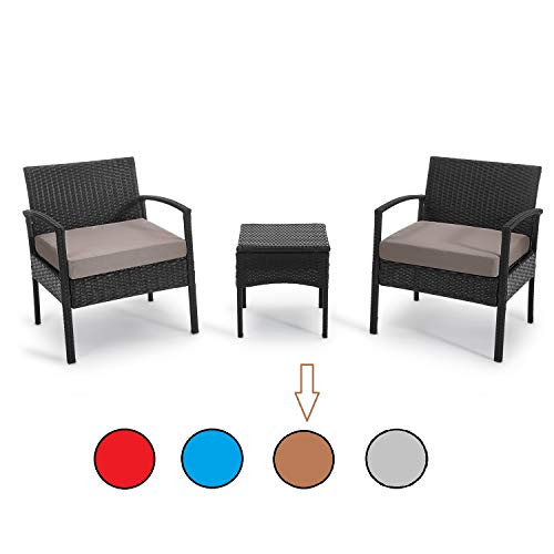 PROHIKER 3 PCS Patio Rattan Conversation Chair Set 3 PCS Patio Wicker Rattan Furniture Set Patio Wicker Rattan Table
