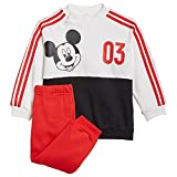 adidas INF DY MM Jog G Set, Top:White/Vivid Black Bottom:Vivid Red S21, 1824 Baby-Girls