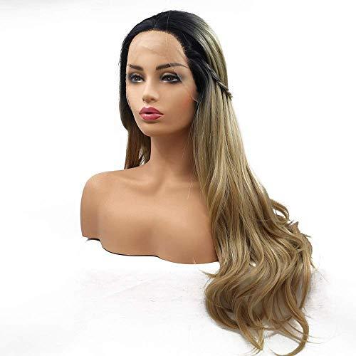 Peluca de pelo largo y rizado teñido para damas en Europa y América en medio de la peluca de fibra química Juego de cabello - Negro - Volumen pequeño - Olas pequeñas - Cabello largo, Peluca natural