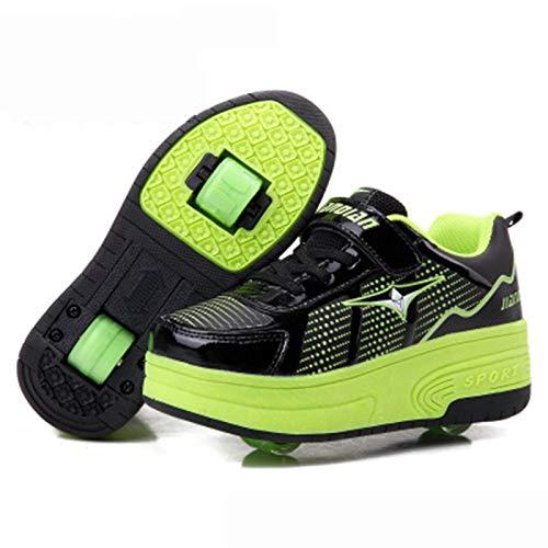 WFSH Unisex Kids Roller Skate Shoes Removibles Conviértete en Deporte Entrenador para Niños Niñas Doble Ruedas Zapatos (Color : Green, Size : 35)