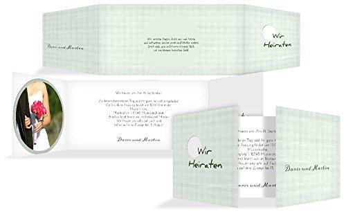 Hochzeitskarten: Hochzeitseinladung wedding harmony, hochwertige Einladung zur Heirat inklusive Umschläge | 15 Karten (format: 215.00x105.00mm) color: Grün