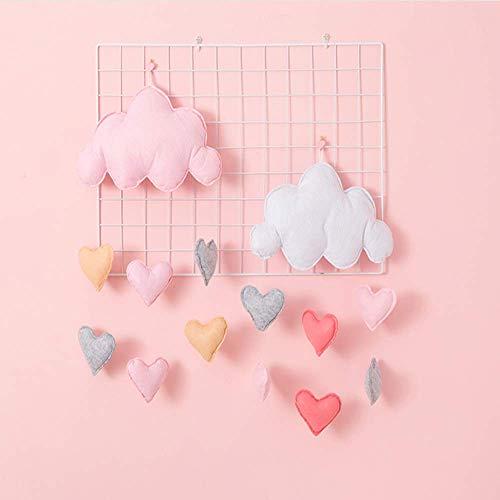 2 stuks hangende wolkdecoratie vilt wolk regendruppels decoratie kinderkamer decoratie voor gordijnen accessoires voor verjaardagsfeest (Cloud Love en ster decoratie) 0 2pcs (Pink And White)