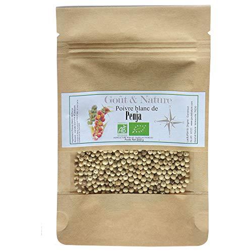 250 gr Bio-Penja-Pfeffer 2021, weiße Pfefferkörner -IGP von Penja, Bio-Kultur, wiederverschließbarer Beutel. Pfeffer aus Kamerun