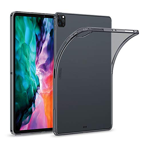 "ESR Rebound Soft Shell Case for iPad Pro 12.9"" 2020 & 2018, Clear TPU Back Cover, Supports Pencil Wireless Slim-Fit Shell Case, for iPad Pro 12.9"", Translucent Black"